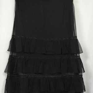 EXPRESS COLLECTION Black Silk Gauze Tiered Skirt 6